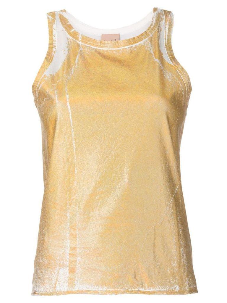 Nude metallic sheen tank top - Gold