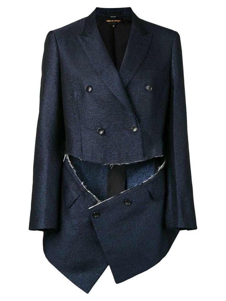 Comme Des Garçons double breasted cut-out blazer - Blue