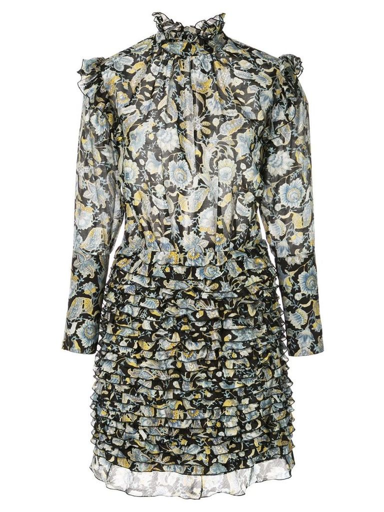 Robert Rodriguez Studio floral frill mini dress - Black