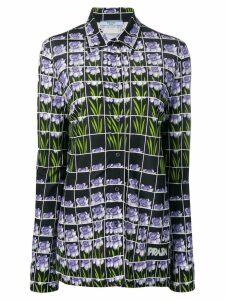 Prada floral grid print blouse - Blue
