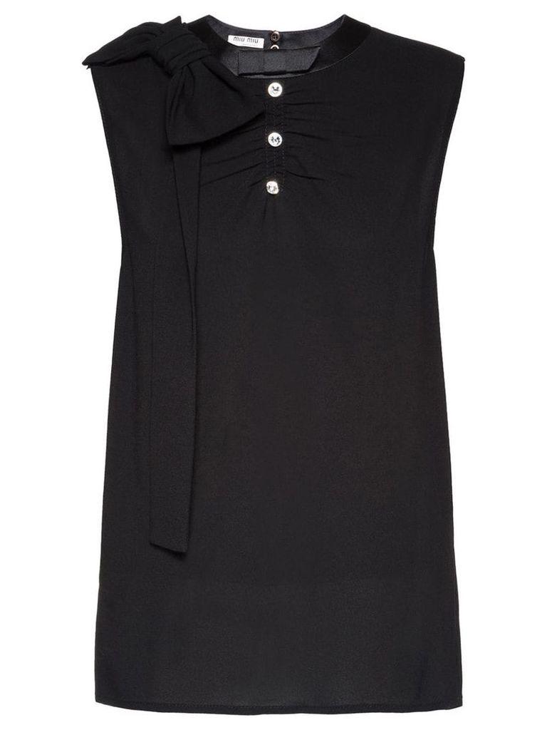 Miu Miu Sablé top with bows - Black