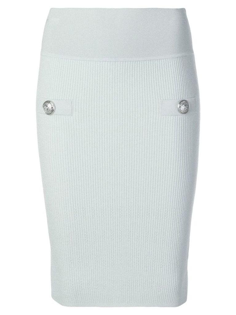 Balmain ribbed mid length skirt - Green