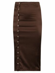 Supriya Lele Gape popper button midi skirt - Brown