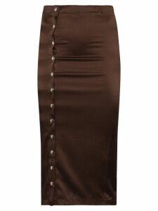 Supriya Lele Gape popper button midi skirt - Brown
