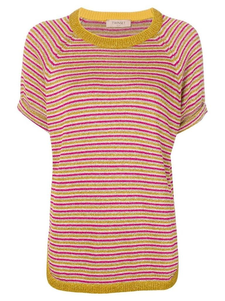 Twin-Set striped knitted top - Pink