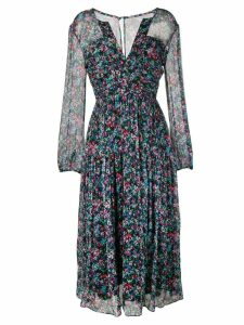 Saloni watercolour floral-print dress - Black