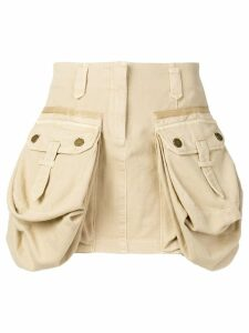 Alberta Ferretti oversized pockets mini skirt - Neutrals