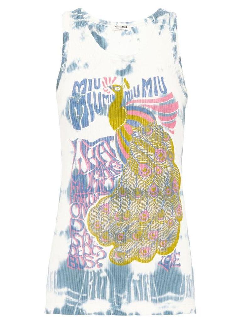 Miu Miu Jersey top with tie-dye motif - Grey