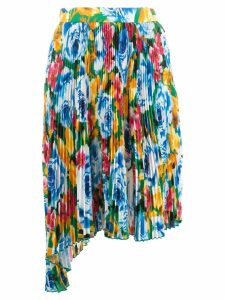 MSGM floral pleated skirt - Blue
