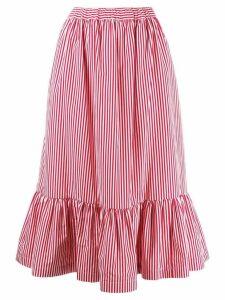 Comme Des Garçons Girl striped midi skirt - Red