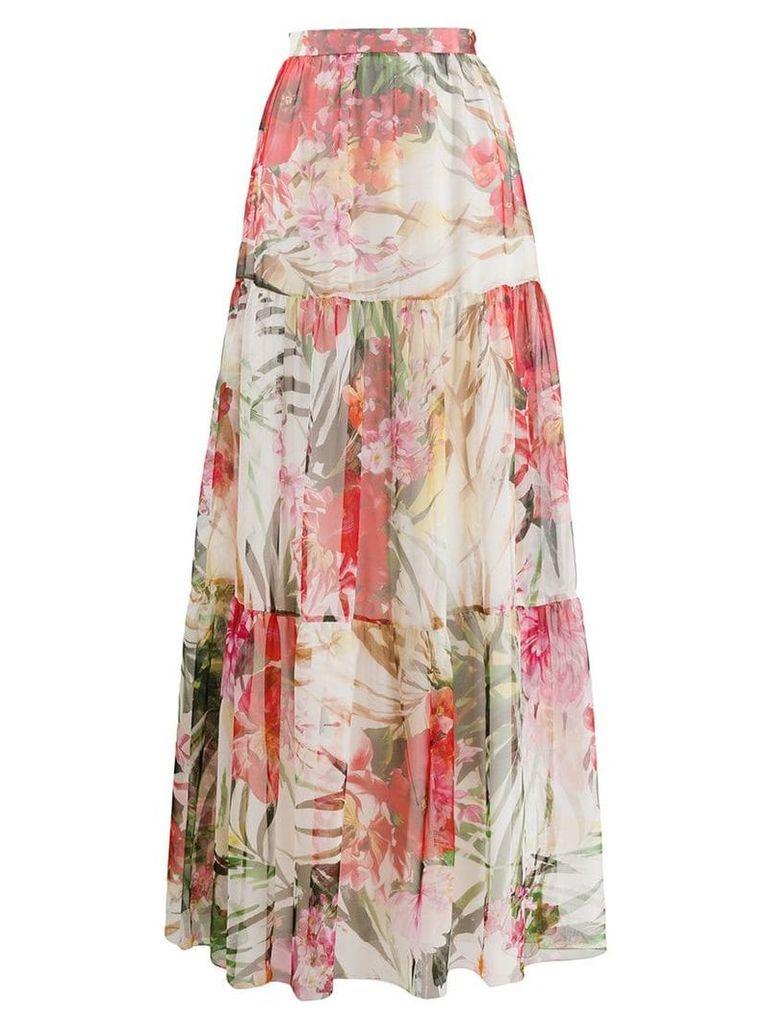 Blumarine floral tiered skirt - Pink