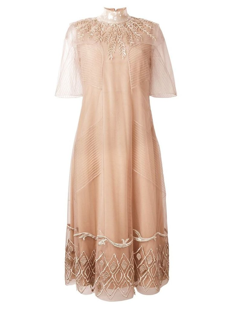 Fendi sequin leaf embroidered tulle dress - Neutrals