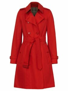 Burberry Cotton Gabardine Trench Coat - Red