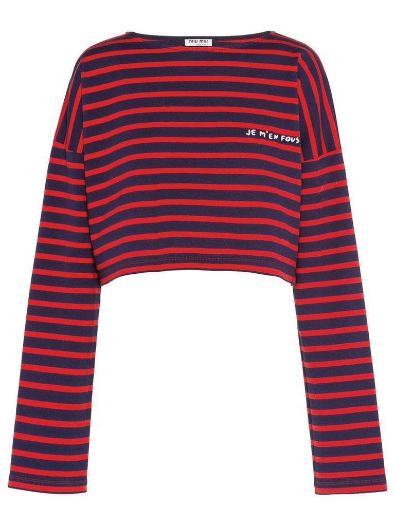 Miu Miu Striped jersey T-shirt with embroidery - Blue