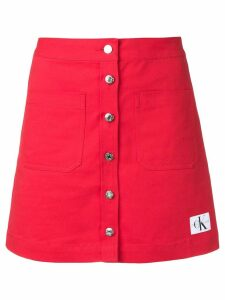 Calvin Klein Jeans button up mini skirt - Red