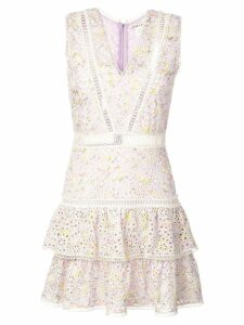 Alice+Olivia Tonie embroidered mini dress - Purple