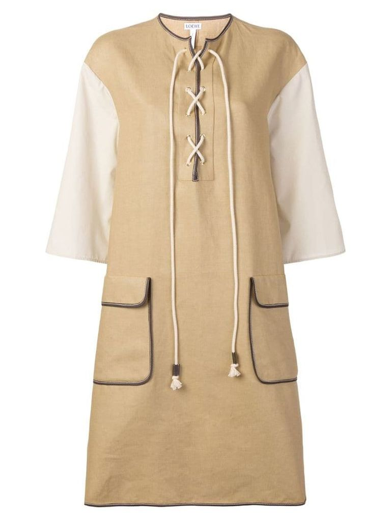 Loewe lace up shift dress - Neutrals