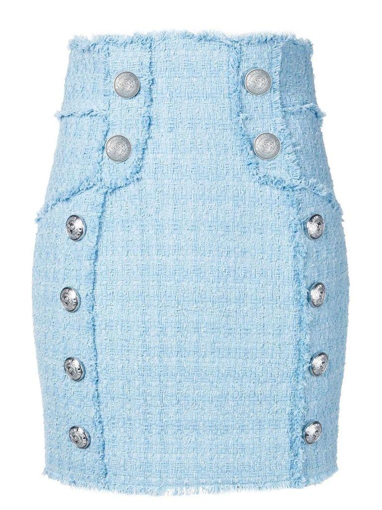 Balmain tweed high waist skirt - Blue