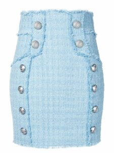 Balmain tweed high waist skirt - Blue