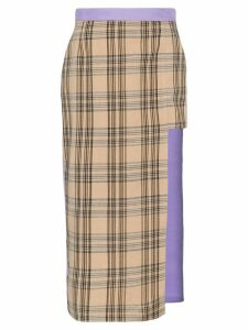 Natasha Zinko asymmetric check midi skirt - Brown