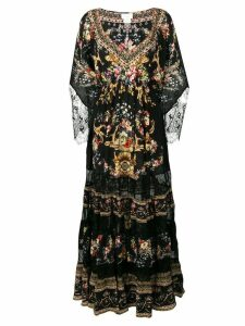 Camilla lace-trimmed floral-print dress - Black