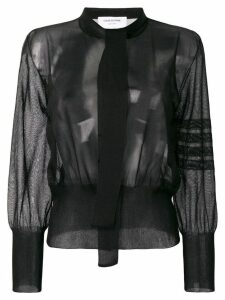 Thom Browne 4-Bar Relaxed Necktie Blouse - Black