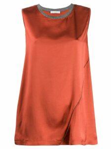 Fabiana Filippi contrast neck top - Orange