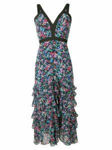 Saloni watercolour-effect floral-print dress - Black