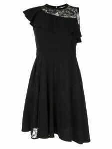 Loveless deep ruffle asymmetric dress - Black