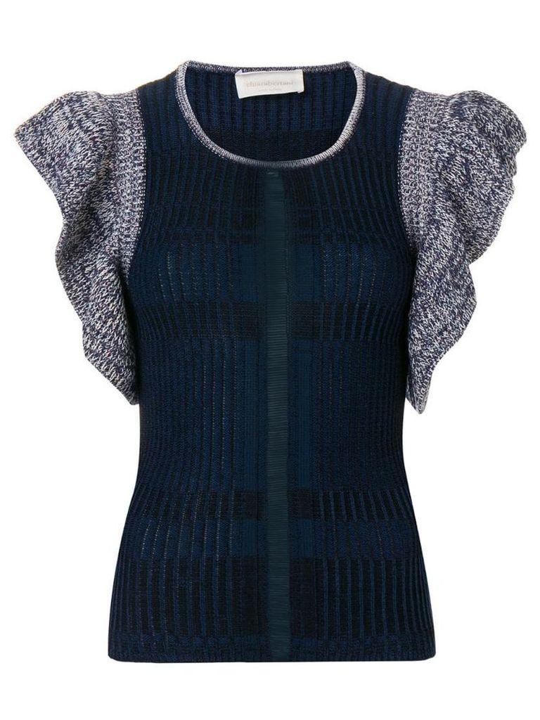 Chiara Bertani ruffled knitted top - Blue