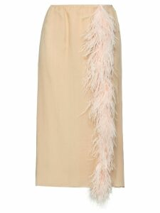 Prada feather trimmed chiffon skirt - White