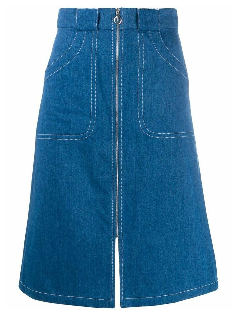 A.P.C. zip-through denim skirt - Blue
