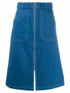 A.P.C. zip-through denim skirt - Blue