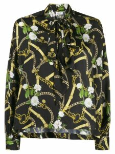 Liu Jo belt and chain print blouse - Black