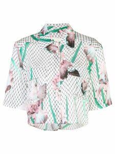 Fleur Du Mal cropped iris print shirt - Multicolour