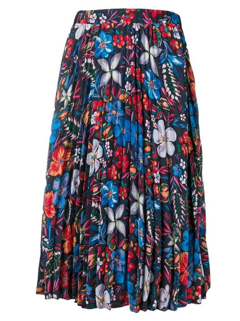 Essentiel Antwerp pleated floral print skirt - Black