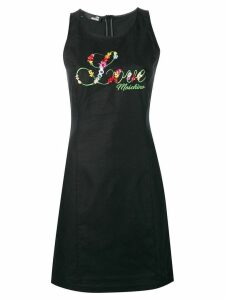 Love Moschino embroidered floral fitted dress - Black