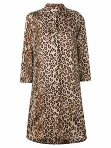 Alberto Biani leopard-print satin shirt dress - NEUTRALS
