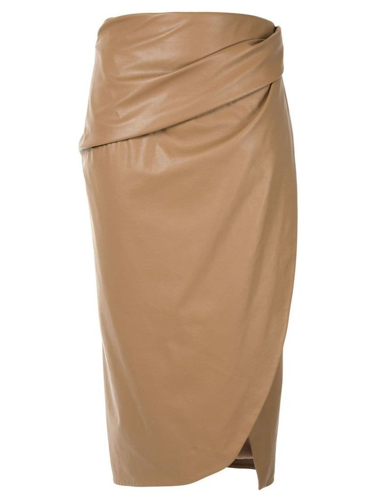 Bianca Spender Leatherette Parabola skirt - Brown
