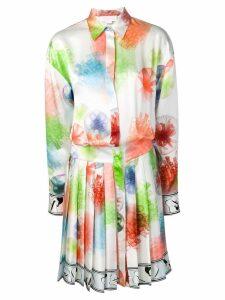 Genny printed pleated midi shirt dress - White