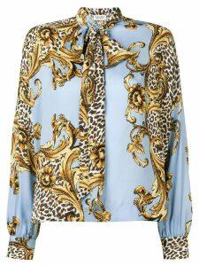 Liu Jo printed pussy bow blouse - Blue