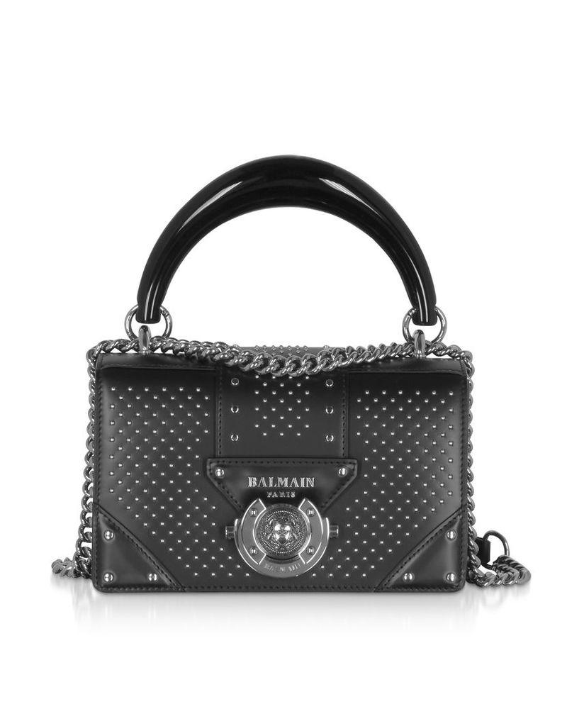 Balmain Designer Handbags, Black Studded Leather Top Handle Mini Bag
