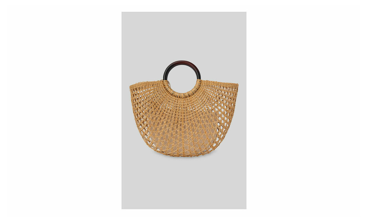 Eldon Wooden Handle Rattan Bag