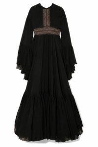 Giambattista Valli - Lace-trimmed Tiered Silk-chiffon Gown - Black
