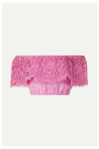 Miguelina - Dakota Cropped Off-the-shoulder Guipure Lace-trimmed Linen Top - Pink