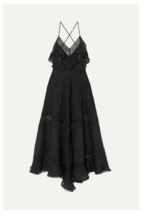 Charo Ruiz - Sabine Crocheted Lace-paneled Cotton-blend Dress - Black