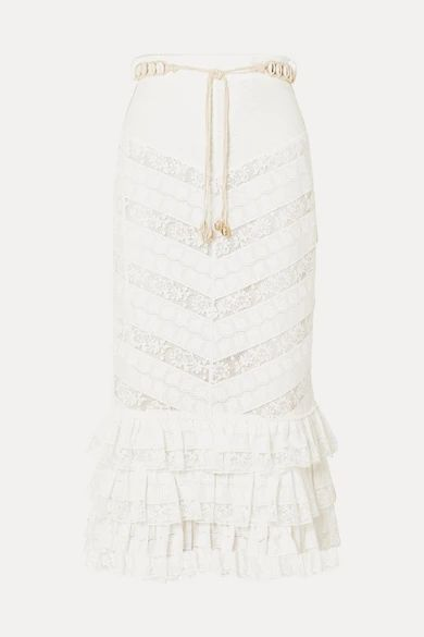 Zimmermann - Veneto Perennial Ruffled Broderie Anglaise Gauze And Lace Skirt - Ivory