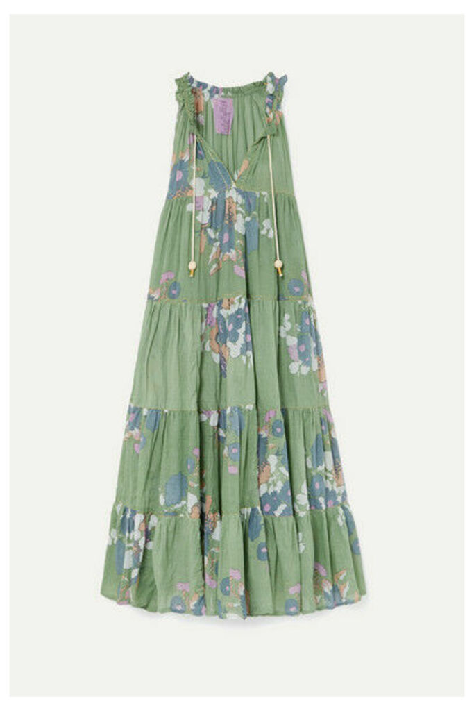 Yvonne S - Hippy Tiered Floral-print Cotton-voile Maxi Dress - Light green