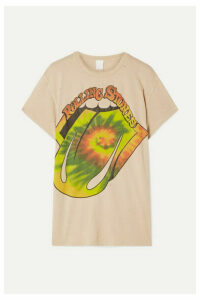 MadeWorn - The Rolling Stones Distressed Printed Cotton-jersey T-shirt - Beige