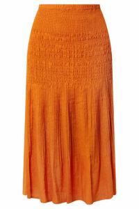 Nicholas - Smocked Gauze Midi Skirt - Orange